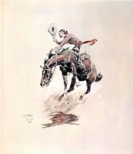 Charles Marion Russell - Yendo Caballo y vaquera