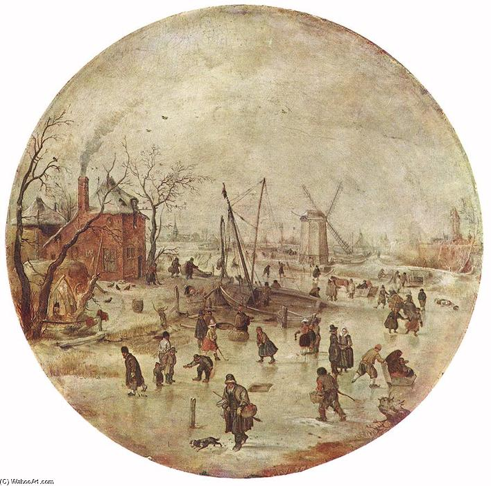 famous painting Paisaje invernal con patinadores of Hendrick Avercamp