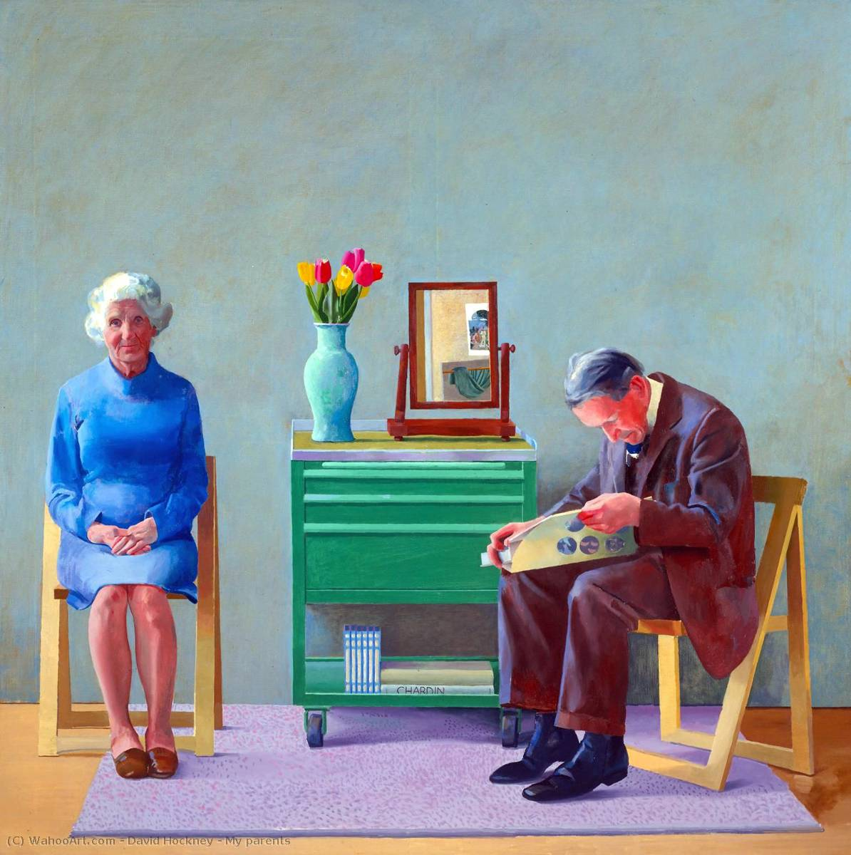famous painting mis padres of David Hockney